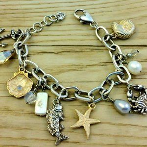 BRIGHTON Nautical Silver & Gold Charm Bracelet
